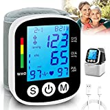 Topffy Blood Pressure Monitor, Wrist BP Cuff Rechargeable Automatic BP Machine Blue Backlit Digital BP Monitor Pulse Rate Monitoring Meter 2*99 Memory Wrist Blood Pressure Monitor for Home Use Black