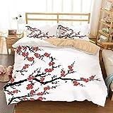 HDFJF0Y - Juego de funda de edredón japonesa, diseño de flores de cerezo asiático, diseño botánico de líneas orgánicas frescas, juego de cama decorativo de 3 piezas, 2 fundas de almohada