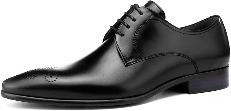 StickSeek Italian Design Genuine Leather Men's Derby Formal Dress Oxfords Pointed Toe Lace-up Man Wedding Brogue shoes