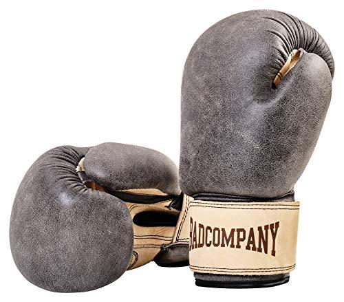 Bad Company Retro Rindsleder Boxhandschuhe mit Belüftungssystem I Boxtraining, Sparring und Wettkampf-Boxen I Gewichtsklassen 10 oz - 16 oz I 10 oz