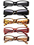5-Pack Ladies Reading Glasses Includes Sunshine Readers for Women +2.5