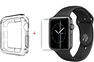 TopACE Apple Watch Series 4 / 5 44mm 【強化 防爆保護フィルム+クリア TPU ソフトケース】 硬度6H 超薄0.33mm 耐衝撃 撥油性 超耐久 耐指紋 防爆保護フィルム + 超スリム クリア TPU ソフトケース 落下防止