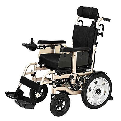 HIGHKAS Hochleistungs-Elektrorollstuhl mit klappbarer Kopfstütze und tragbarem Elektrorollstuhl, elektrischem Sicherheitsgurt oder manueller Manipulation, älterer automatischer Rollstuhl Allrad-Rol