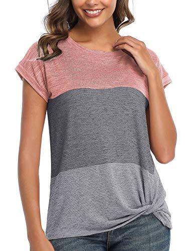 Voqeen Tops para Mujer, Camiseta Casual De Verano con Cuello Redondo, Blusas con Nudo Torcido Y Bloques De Color De Retazos, Blusas Holgadas