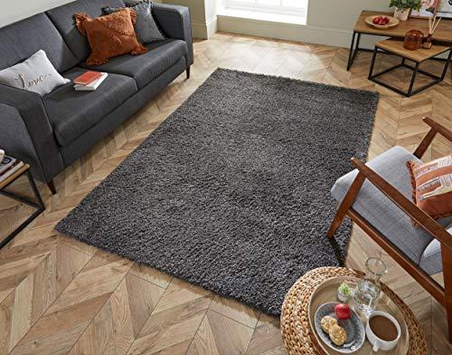 - LordOfRugs - Nordic Cariboo Soft Shaggy Rugs in Pink, Dark Grey, Mustard, Natural, Navy, Brown and Terracotta Carpet (Dark Grey, 120 x 170 cm (4'x5'6''))