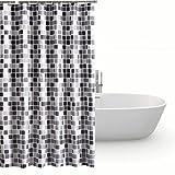 Piashow Mosaik Duschvorhang 200 x 180 cm, Shower Curtain Anti-Schimmel Wasserdichtes Waschbar Anti-Bakteriell Duschvorhäng aus Polyester Badvorhang mit 8 Haken, Dekoration für Badezimmer