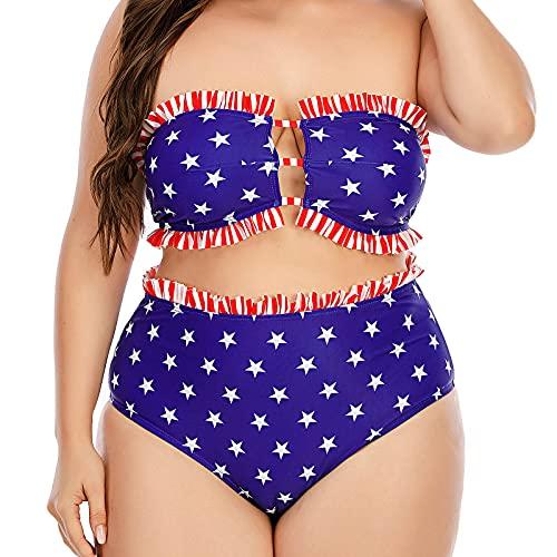 Más el tamaño de las mujeres de cintura alta trajes de baño modesto traje de baño 2 piezas traje de baño para mujer Outsize trajes de baño ropa de playa señoras cintura alta bikini conjunto promoción