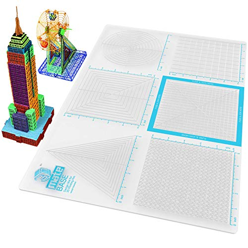 3Dmate Base - Transparent 3D Pen Mat 18 x 12 Inches with Fuse and Join Area - Flexible Two-Sided Heat-Resistant Silicone - 3D Pen Accessories Compatible with Stencils - STEM Activity for Kids, Adults