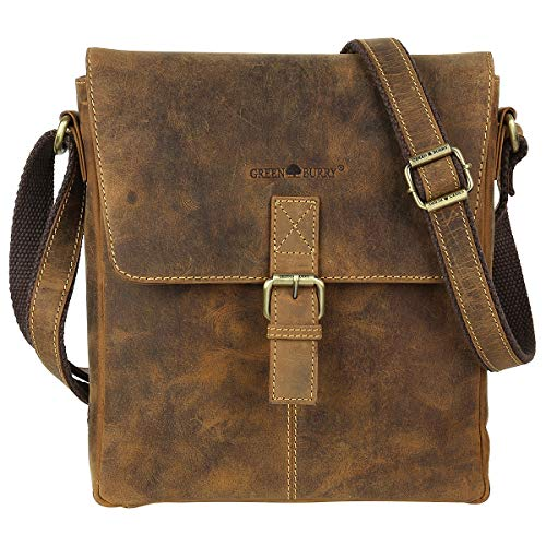 Greenburry Vintage lederen schoudertas Crossbag Messenger schoudertas Flapbag Shoulderbag BV-1930-25
