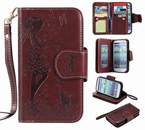 Yiizy Handyhülle für Samsung I9300 Galaxy S III Hülle, Mädchen Prägung Entwurf PU Ledertasche Beutel Tasche Leder Haut Schale Skin Schutzhülle Cover Stehen Kartenhalter Stil Schutz (Braun)