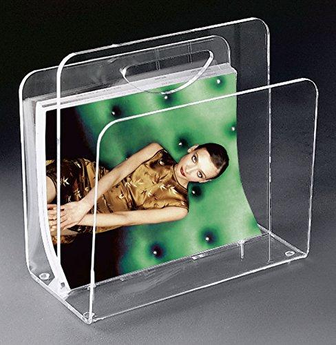 HOWE-Deko Hochwertige Acryl-Glas Zeitungstasche, Zeitungsständer, klar, 33 x 23 cm, H 31 cm, Acryl-Glas-Stärke 8/6 mm