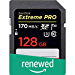 SanDisk 128GB Extreme Pro SDXC UHS-I Card - C10, U3, V30, 4K UHD, SD Card - SDSDXXY-128G-GN4IN (Renewed)