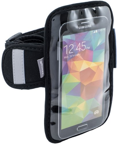 Arkon Sports Running Jogging Neoprene Smartphone Armband iPhone 6S 6 with Case Samsung Galaxy S6 S5 HTC One M9 - Retail Packaging - Black
