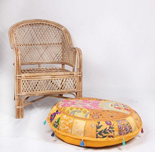 Jaipur Textile Hub Patchwork-Baumwoll-Boho-Chic, Handbestickt, rund, Bodenkissen & Kissenbezug, Sitzhocker, Ottomane, Gelb, ca. 45,7 cm