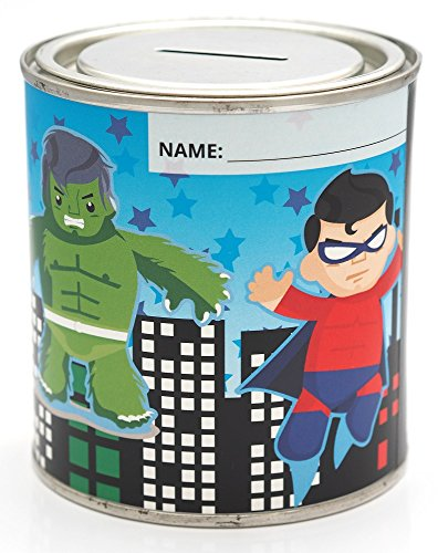 CanTastic Hucha para niños Super Hero de 500 ml, Tapa resalable, Hulk, Iron Man