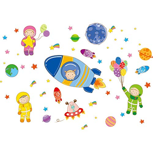 Astronauten Weltraum Planeten , Cartoon Wandaufkleber DIY Kinder Aufkleber Kinderzimmer Baby Schlafzimmer Dekoration d157 wangzhanping