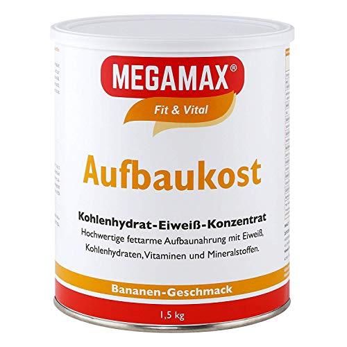 MEGAMAX Aufbaukost Banane 1.5 kg Ideal zur Kräftigung und bei Untergewicht. Proteinpulver zur Zubereitung eines fettarmen Kohlenhydrat-Eiweiß-Getränkes für Muskelmasse u. Muskelaufbau Gewichtszunahme