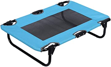 Dog Cat Elevated Raised Cot Bed Portable Camping Basket, Portable Outdoor Pet Bed,Blue