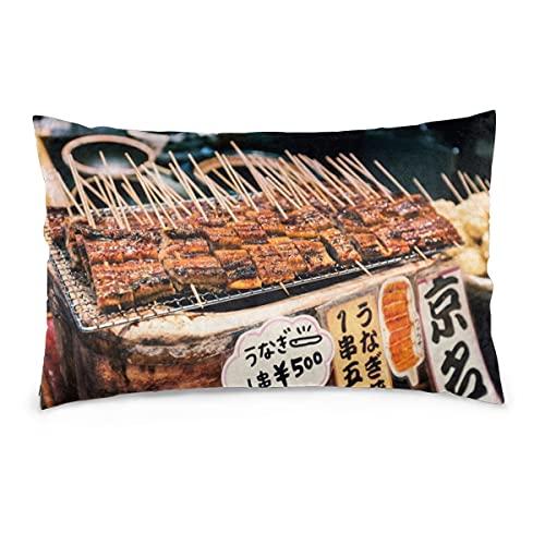 Kissenbezüge 16X24inch Gegrillter Unagi oder Süßwasseraal auf Stöcken als Straßenessen auf dem Nishiki-Markt in Kyoto, Japan Dekokissenbezüge Sofa Auto Kissenbezug Home Dekorativ 40X60CM