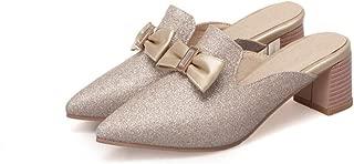 GIY Women Sexy Low Block Heels Sandals Sweet Bowknot Summer Pointed Toe Casual Mules Slide Heeled Sandal