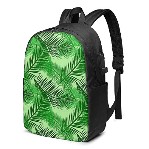 Hdadwy Palm Leaf Print USB School Backpack Large Capacity Canvas Satchel Casual Travel Daypack for Adult Teen Women Men 17in