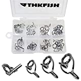 thkfish Baitcasting Rod Guides Fishing Rod Tip Tops Replacement Steel Ring Freshwater Baitcasting...