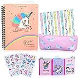 25 Piezas Estuche Unicornio Set de Papelería Bolígrafos y Cuaderno Libreta de Notas, Regalos de Unicornio para Niñas Niños 6 7 8 9 10 años