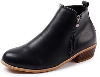 42a947b7bb2819 Boots Femme Talon Bottine Femmes Hiver Daim Cuir Bottes Chelsea Low Chic  Cheville Compensées Grande Taille