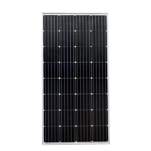 ECO-WORTHY - Panel Solar Mono de Alta eficiencia de 150 W para Fuente de alimentación de Carga de batería de 12 V, Color Negro