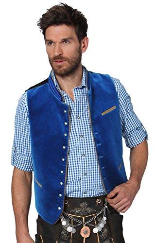 Stocker Point Ricardo–Chaleco estilo tirolés, complemento ideal de traje tradicional austriaco para hombres, color azul brillante
