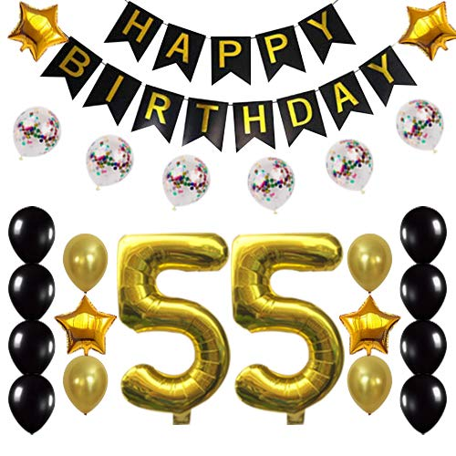 55th Birthday Decorations Party Supplies Happy 55th Birthday Confetti Balloons Banner and 55 Number Sets for 55 Years Old Party(Gold)