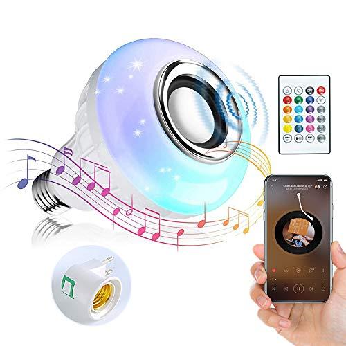 Bombilla de música LED de Colores,Bombilla Bluetooth Altavoz RGB Control Remoto,Usado para Fiesta, Hogar, Decoraciones Navideñas de Halloween Foco de Luz Regulable [Clase de eficiencia energética A]