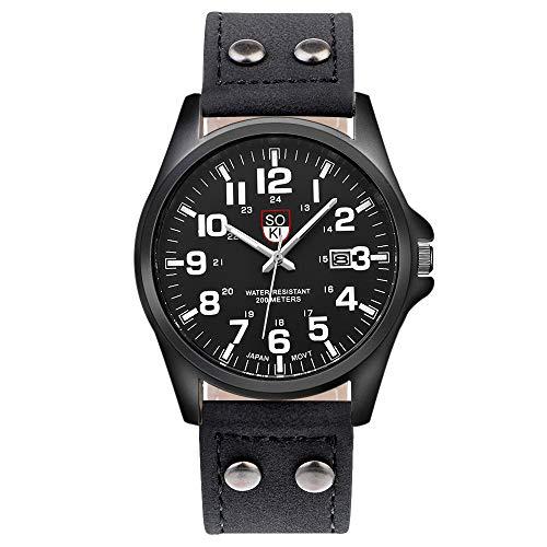 Souarts Herren Kalender Armbanduhr mit Leder Armband Männer Analog Quarzuhr mit Batterie (Schwarz)