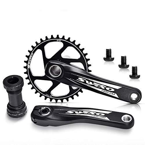 VUNDO Crankset Mountain Bike Crank Arm Set Single Speed 170mm Crankset with Bottom Bracket Kit for MTB BMX Road Bicycle Compatible with Shimano, FSA, GAINT,SRAM 1x 32T