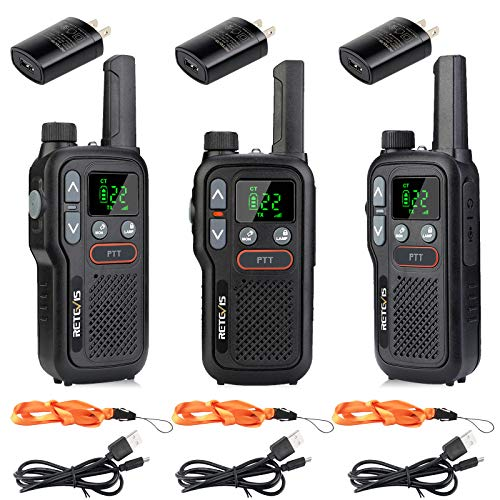 Retevis RB18 Walkie Talkies Rechargeable,22 CH FRS,NOAA Flashlight VOX,Long Range Two Way Radio Adults,2 Way Radio for Hiking Cruise Camping Hunting Family (3 Pack)