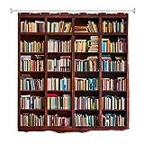 A.Monamour Cortina de Ducha Antimoho Impermeable Lavable Tela Libros En La Biblioteca Estantería Estantería Fondo Poliéster Cortinas de Baño con Ganchos 180x180cm