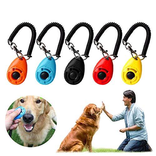 EONAZE Clicker Perro para Adiestramiento Perro, Adiestramiento Canino Clicker con Correa para Perros Gato Caballo Pajaros (5 Multicolor)