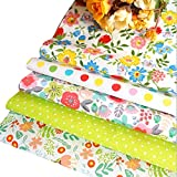 LILIJD Telas Infantiles Sarga De Algodón Roto Paso Impreso Patchwork Patchwork Hecho A Mano DIY Pequeño Pequeño Tela Floral Cortina Muñeca(Color:4#)