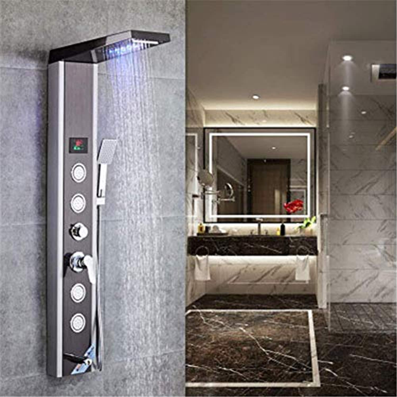TOOSDFaucet Edelstahl LED Duschpaneel mit Temperaturanzeige und 4 Massagedüsen Multifunktions-Duschset, Intelligente Digitalanzeige Temperatur mit farbigen Lichtern