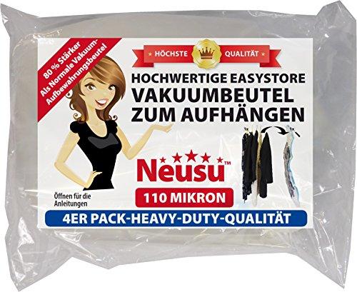 Neusu EasyStore Starke Vakuumbeutel zum Aufhängen, 4er Pack (Standard 105 x 70 cm)