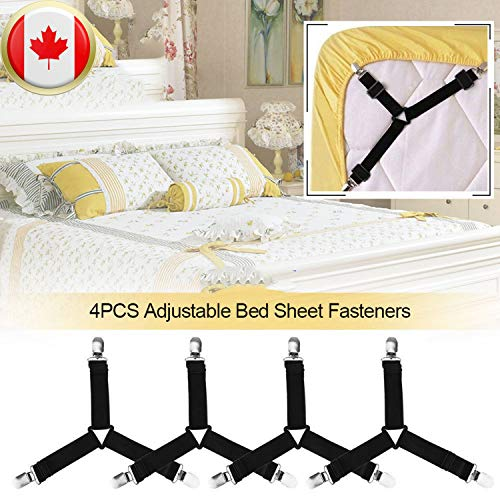 Luxbon 4Pcs Adjustable Bed Sheet Fasteners Suspenders Elastic Triangle Heavy Duty Grippers Suspenders Holder Band Sheet Straps Clips for Fitted Bed Sheets Sofa Cushion Mattress Pad Covers White
