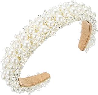 PIXNOR Fascia per Elegante Fascia Bianca con Perline Elegante Fascia per Larga per Le Donne da Sposa