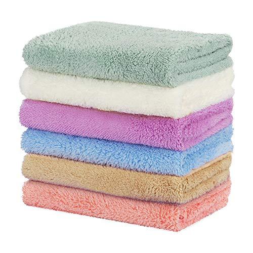 Yoofoss Handtuch 6er Pack Gästetuch Handtuch Set 30x50cm Kleine Weiche und Saugstarke Handtücher Gästetücher Farbe Weiß Blau Lila Grün Rosa und Khaki