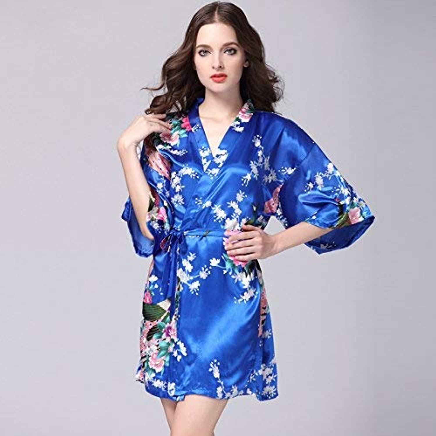 Nightshirt, Simulation Silk Nightgown Ladies Summer Sleeve Peacock Pajamas Bathrobe Large Size Home Service (color   Sapphire, Size   XL) (color   Sapphire, Size   XLarge)