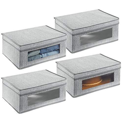 mDesign 4er-Set Aufbewahrungsbox – große Aufbewahrungskiste mit Deckel und Sichtfenster aus Kunststoff – rechteckige Schrankbox zur Kleideraufbewahrung im Schlafzimmer – grau