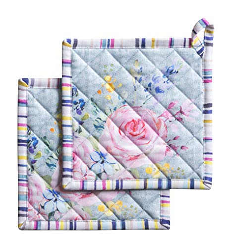 Maison d' Hermine Sweet Rose Lavender 100% Cotton Set of 2 Pot Holders with Loop Heat Resistant for BBQ   Cooking   Baking   Grilling   Microwave   Barbecue   Spring/Summer (8 Inch by 8 Inch).