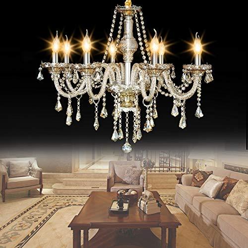 Ridgeyard Modern Cognac Color Crystal Chandelier Lighting Ceiling Light Fixture Pendant Chandelier for Living Room, Hotels, Hall Way, Bars, Restaurants E12 Bulbs Height (8 Lights Cognac)