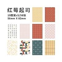 Yoofun 10deisgn 50pcs /ロットソースマテリアル紙のための紙ジャーナルスクラップブッキングデコMemos Creative MemoPads (Color : B)