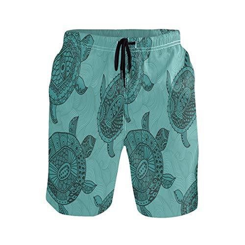 Süße Lustige Schildkröte Herren Badeshorts Badehose mitMesh-Futter Boardshorts für Männer Surf Schwimmhose Sporthose