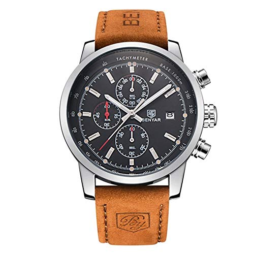 BENYAR chronograph Men's Watch (Black Dial Brown Colored Strap)